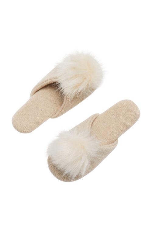 Cashmere Pom Pom Slippers - L
